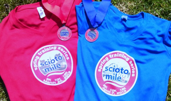 The technical shirts from the two Scioto Miles spring training races.