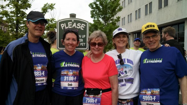 Some of the Buckeye Striders before the start of the race: Vince, Deb, Elaine, Me and Steve.