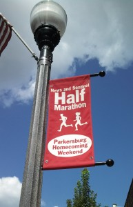 Banners line the main streets of parkersburg.