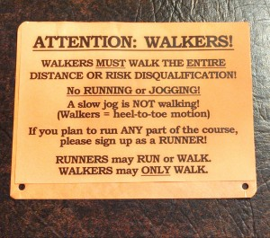Walking rules were in the packets of all of the walkers at the Parkersburg Half Marathon.