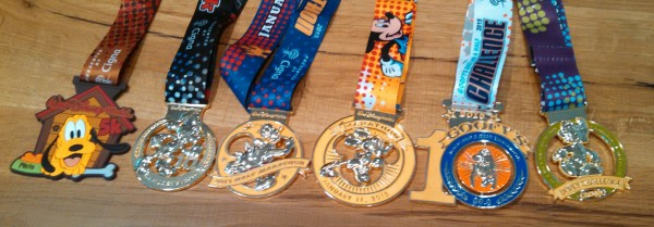 The ultimate bling! From left to right, medals for the 5K, 10K, Half Marathon, Full Marathon, Goofy Challenge and Dopey Challenge.