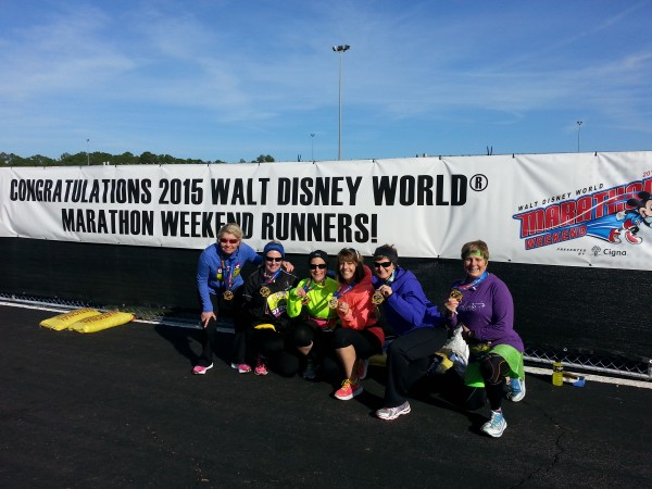 the women who entered the Dopey Challenge and the Goofy Challenge, from left to right: Diane Burris, Karen Edwards, Stephanie Waterman, Darla Kaikis, Vicki Brunetto and Shelly Thompson.